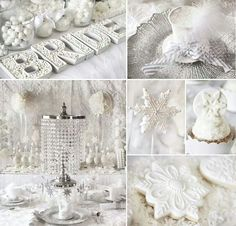 Winter wedding ideas/ I like the white and sparkles for Christmas party ideas