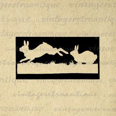 Digital Printable Rabbits Silhouette Cutout Image Bunny Graphic Download Vintage Clip Art. Vintage digital graphic image for fabric transfers, making prints, tea towels, t-shirts, pillows, tote bags, and much more. Antique artwork. This graphic is high quality at 8½ x 11 inches large. Transparent background version included with all images.