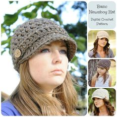 Crochet Hat Pattern, Basic Newsboy Hat Pattern, Crochet Pattern for Women & Children