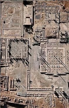 ARCHITECTURE: Aerial view of the ruins at Persepolis. Persepolis was the ceremonial capital of the Achaemenid Empire (ca. 550–330 BC). Persepolis is situated 70 km northeast of the modern city of Shiraz in the Fars Province of modern Iran. The earliest remains of Persepolis date from around 515 BCE.