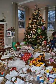 How to not excess Christmas and make it more special:   Each child gets 4 presents.    1.    Something they want  2.    Something they need  3.    Something to wear  4.    Something to read.....I think this would be great, and then take a christmas vaction instead of all of the things they really don't need!