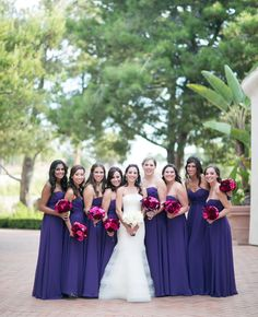 A Modern Outdoor Wedding at The Resort at Pelican Hill in Newport Beach, CA - A purple, magenta and white color palette is a recipe for a wedding full of contrast. This couple balanced the bold palette with modern white touches like white flower petals and beautiful calla lily and hydrangea arrangements.