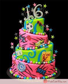 Sweet 16 Topsy Turvy Cake