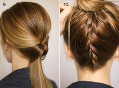 Ten Ways to Dress Up a Ponytail by Steph poni tail, french braids, hair tutorials, school, long hair, dress up, hair style, dressing up, ponytail hairstyles