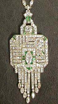 Art deco peridot & diamond pendant