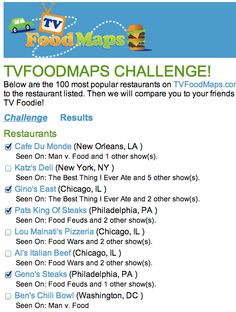 Take the TVFoodMaps Challenge!