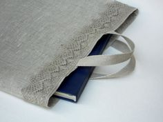 Gray linen burlap tote bag with linen lace bag for photo album book bag lingerie bag wedding favor bag
