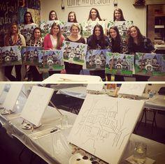 Iota Rho Chapter (East Carolina University) had a sisterhood event where members painted their chapter house on a canvas. Fun idea!