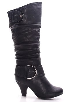 BLACK FAUX LEATHER DOUBLE LARGE BUCKLE LOW HEEL BOOTS,Women Boots On