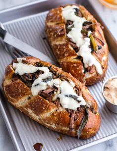 Cleveland Cheesesteaks with Pretzel Hoagie Rolls. - Half Baked Harvest