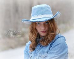 Rustic Wide Brim Cowgirl Hat in Denim and Lace by Jaya Lee
