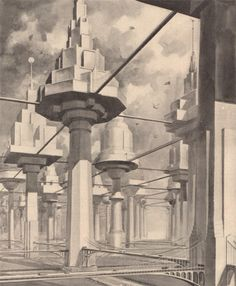 The city of the future (April, 1934 Popular Science Monthly)  Imagining a City of Treelike Buildings