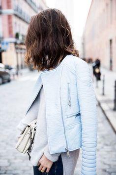 Pastel leather jacket.