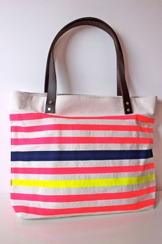 #Etsy - Neon and Neutral Canvas Tote Bag with Leather Handle in----pink-navy-lemon-