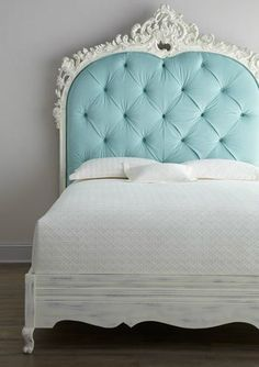 Shabby chic bed with aqua headboard