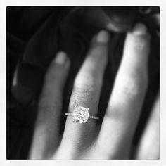 diamond on a thin diamond band. Gorgeous.