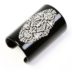 Black Deco Statement Cuff  by Ben-Amun