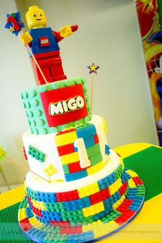 lego birthday cake | Shining Mom: Lego City Theme Party {Migo's First Birthday}