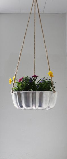 Shining Silver - UpCycled Bundt Cake Planter - Industrial Modern Reclaimed BootsNGus Hanging Flower Pot, #springintothedream