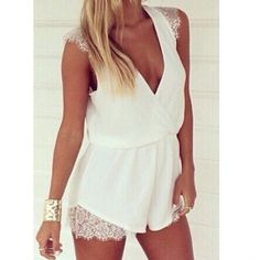 Other - White lace romper Medium NWT