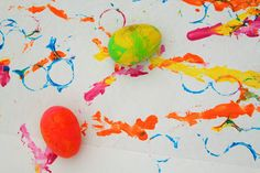 Paint rolling with plastic Easter eggs