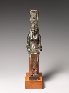 Statue of a goddess, probably Nehemetaui or Nebethetepet  Period: Late Period–Ptolemaic Period Dynasty: Dynasty 27–30 Date: 550–300 B.C. Geography: Egypt Medium: cupreous alloy