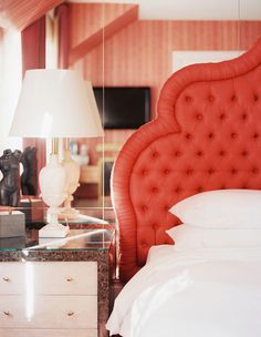 coral tufted headboard