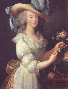 Marie Antoinette holding a rose
