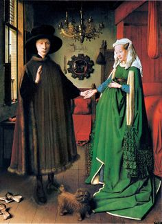 """Jan van Eyck's """"The Arnolfini Portrait"""" (1434) """"From the fabrics and the fur trimming of the clothes to the wooden window frame and the bull's eye windowpanes -- everything is depicted using a degree of detailed realism that makes objects seem almost tangible."""""""
