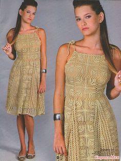 Crochet dress beige