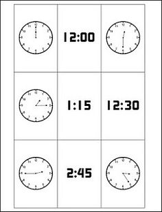 Telling Time Cards w