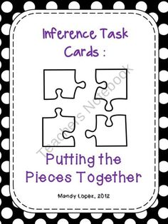 Making Inferences {28 Task Cards, Recording Sheet, Poster + a Game Board} product from Mandy-Lopez on TeachersNotebook.com