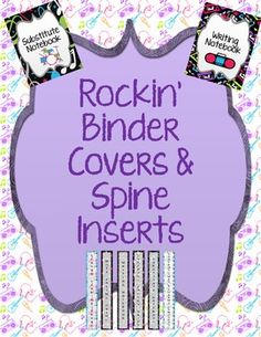 Rockstar/Music/80's themed binder covers for your notebooks.  This packet has covers for lesson plans, writing, literacy pacing guide, math pacing ...