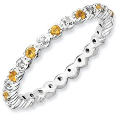 Sterling Silver Stackable Expressions Citrine & Diamond Ring for $69.97