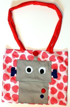 How to make Bag - Robot Tote - DIY Craft Project with instructions from Craftbits.com