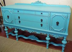 painted Buffets And Sideboards | turquoise painted antique buffet Turquoise Painted Buffet buffet tables, blue buffet, turquois paint, hous idea, antiqu buffet, paint antiqu, buffet turquois, antiques, paint buffet