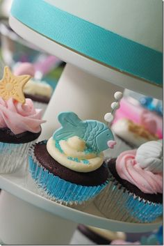 little desserts, color, birthdays, party cupcakes, 5th birthday, sea parti, sea party, blog, bubbl