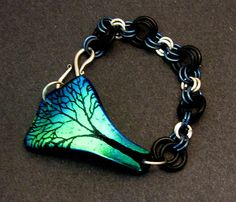 Etched Dichroic Glass Tree Bracelet (Pic #1) by Glass Cat Jewels - Laura Dawson Glass, via Flickr