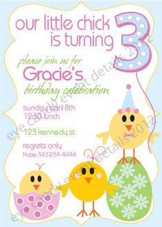 Happy Birthday EASTER chick! invite