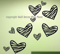 Zebra Print HEART Wall Vinyl Sticker Decal 10 by walldecorplusmore, $14.25