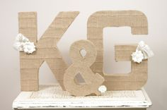 Large Burlap Letters and Ampersand Sign. $100.00, via Etsy.