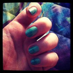 Green & silver manicure
