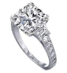 Three Stone Cushion Diamond Engagement Ring