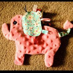 Elephant sensory taggie for baby  Facebook.com/heart2heartboutique