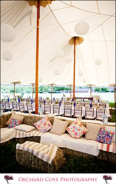 pillow, lounge areas, tents, dance floors, lounges, hay bales, rustic weddings, couches, seating areas