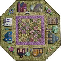 little houses, wool applique, prairi town, spring colors, quilt patterns, hous quilt, table toppers, small towns, house quilts