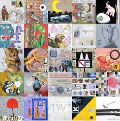 """ABC Collage by Laura Wennstrom.  This is a digital composition of 25 individual 4x4"""" collages.   Mixed Media on canvas, 2008."""