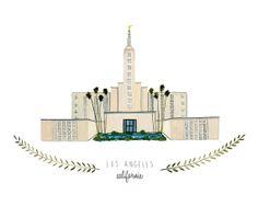 Los Angeles California LDS Temple Illustration - 8x10 Archival Art Print on Etsy, $20.00     #LDS #LDSTemples #LDSMemes