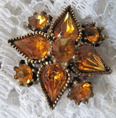 Vintage Amber Rhinestone Brooch by mimiyaya on Etsy, $16.00