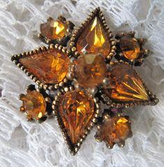 Vintage Amber Rhinestone Brooch by mimiyaya on Etsy, $16.00